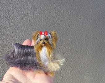 Pet Gift  Your dog as a cute Pin Gourmet Felted / Custom Pet Portrait / Needle Felted dog/ Yorkie Miniature / Sculpture for pet lovers