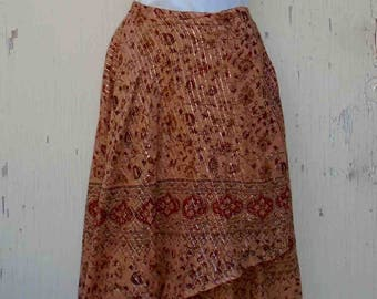Vintage Early Nineties Cotton Gauze Wrap Skirt in Desert Tan Colors with Red Flowers / Indian Style by Karma Highway / Festival Clothing