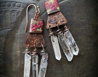 CUSTOM FOR Crystal-Painted Copper Banded Slabs and Crystal Beaded Earrings
