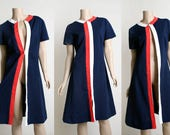 Vintage 1960s I. Magnin Dress - Mod Striped Navy Blue - Three Way Style - Front Zip - 1970s Red White Color Block - Medium Large