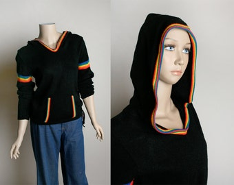Vintage Rainbow Hooded Sweater - Black 1980s Hoodie with Rainbow Trim and Front Kangaroo Pocket - Knit Sweater - Small