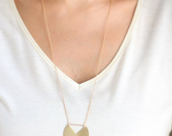 Long Minimalist Geometric Brass Circle Necklace - Brass, Gold Plated or Gold Filled Chain