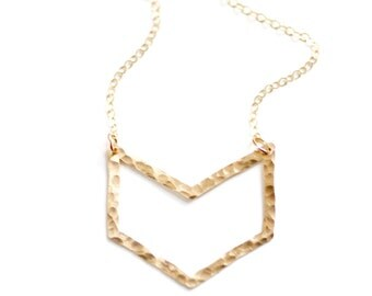 Hammered Cutout Chevron Necklace - Brass | Stainless Steel | 14k Gold Filled | Sterling Silver