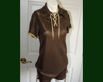 Vintage 1970's Woman's Brown Lace Up Tunic Top and Short Ensemble XS