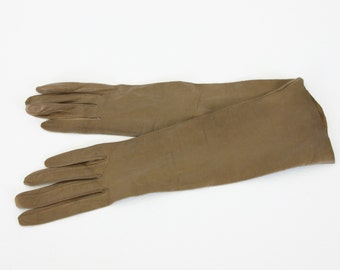 Christian Dior 1960's Vintage Genuine Brown Kid Leather Long Women's Gloves 6 3/4