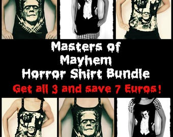 Masters of Mayhem Classic Horror Shirt Bundle gothic clothing Horror movie Tank Top halloween alternative clothing reconstructed mini