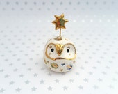 White Fairy Owl Sculpture with Gold Star