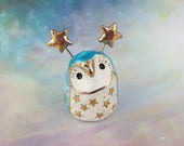 Blue Fairy Owl Ceramic Figurine with Gold Stars and Shells