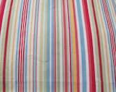 "Cotton Canvas Fabric Multi Color Woven Stripe Aqua Green Yellow Red Lime Lemon 1 Yard x 54"""