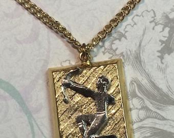 Vintage Zodiac Pendant Medallion Necklace Sagittarius astrology