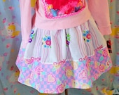 Barbie skirt, fairy kei 80's party geometric abstract checkerboard cotton plus size clothing medium extra large XL M 2X