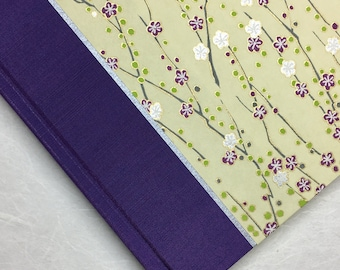 Wedding Guest Book or Wedding Guestbook - Perfect for guest book idea, Custom Guest Book, Unique Guest Book in Purple Silver Cherry Branch