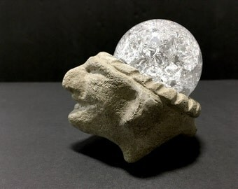 Stone Heads. Handmade Sculpture Concrete Pot with Crystal Sphere