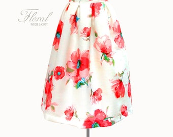 Gathered or pleated fully lined woven floral pleated midi skirt - custom size and length