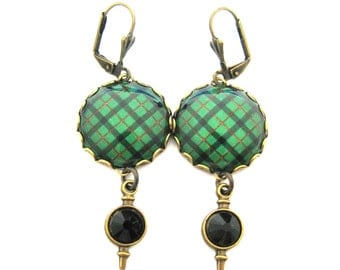 Scottish Tartan Jewelry Ancient Romance Kincaid Clan Tartan Earrings with Sgian Dubh Charms