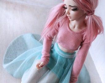 Doll MSD Minifee BJD clothes Multi color Mint glitter waist hi-low skirt set MonstroDesigns Ready to Ship