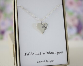 Best Friend Compass Necklace, BFF, Infinite Friendship, Sterling Silver, heart, card, Lover Necklace, Away, School, Silver Compass