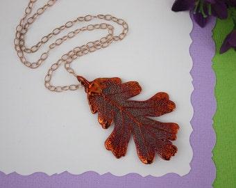 Copper Oak Leaf Necklace, Real Copper Leaf, Real Lacey Oak Leaf Necklace, Lacey Oak Leaf, Rose Gold Filled, LC181