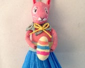 Spun cotton pink rabbit with egg ornament by Maria Paula