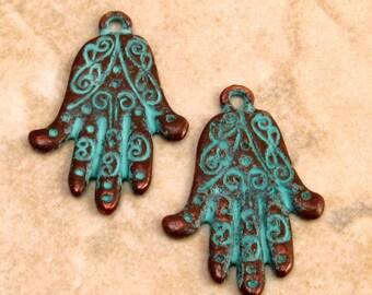 Boho Hand Charm, Hamsa, Hand Of Fatima, Green Patina 2-Pc. M144