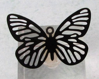 Butterfly Laser Filigree Charm, Black, 4 Pc. MB68