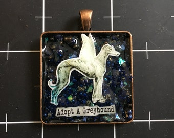 Adopt a Greyhound Winged Greyhound Pendant, 50% of the proceeds go to Grey2KUSA