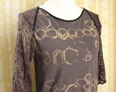 NEW Sunray Blouse, choose your size, hand printed lavender bamboo jersey with lace
