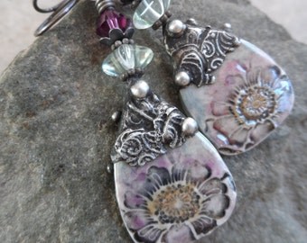 RESERVED Sheer Elegance ... Porcelain Charms with Tinwork, Fluorite, Swarovski Crystal and Sterling Wire-Wrapped Boho, Floral Earrings