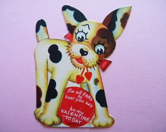Vintage Valentine's Day Card Spotted Dog with Big Ears