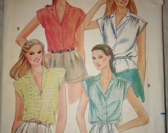 Vintage 80s Sewing Pattern Butterick 3696 Women's Button-up Shirt