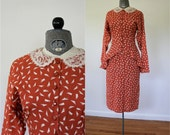 40s does 80s Dress • Blondie and Me Dress • Orange Dress • Peplum Dress • Lace Collar Dress • Secretary Dress • Print Dress • 40s Inspired