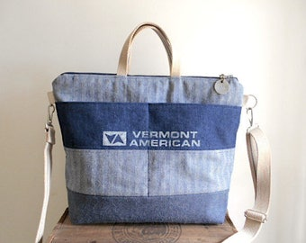 Lumber apron, selvedge denim zipper crossbody tote bag, satchel - Vermont American - eco vintage fabrics