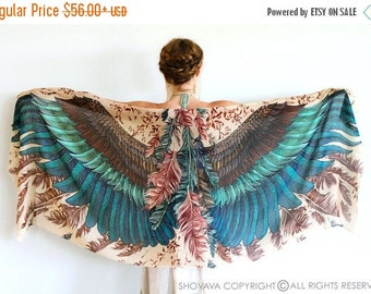 Wings Scarf, Printed Scarf, Girlfriend Gift, Womens Scarf, Wife Gift, Statement Festival Scarf, Bohemian Feathers Shawl, Hand Painted Sarong