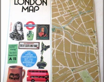 Vintage London Map - British Ephemera - 1970s - Topographical Description - Tourist Info - London UK - Travel Literature - Maps