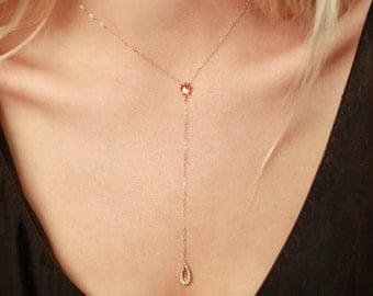 Sunstone Drop Necklace | 14k Gold or Sterling Silver Necklace