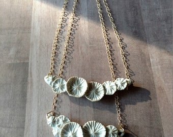 Coral reef minimalist necklace. beach wedding  jewelry. Artisan sculpted, porcelain ceramic and gold chain. Magnetic closure