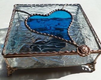 Large, Heart Stained Glass Box, Stained Glass Jewelry Box with your Choice of Handle & Color