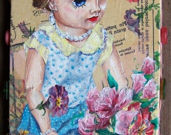 Rosemary Gardening - Oil Painting of Vintage Doll