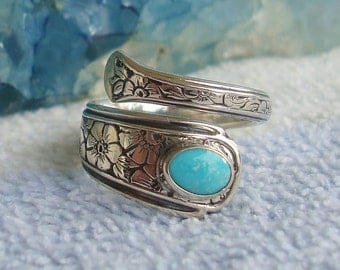 Vintage Turquoise Floral Towle Pat 1932 Sterling Silver Bypass Adjustable Spoon Ring dmfsparkles