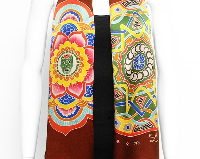 Handpainted Silk Scarf, Mandala Scarf, Hand made scarf, Egypt scarf, Unique Scarf, Batik Handmade, Brown scarf, Neck scarf, Sacred scarf