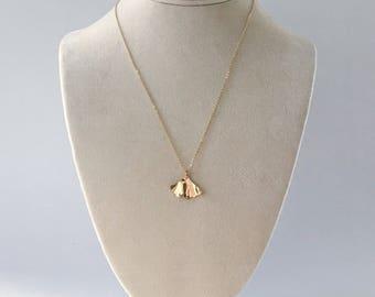 Ginkgo I gold brass pendant, Free USA Shipping