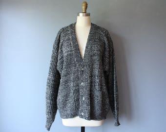 vintage chunky cardigan / grandpa cardigan elbow patches / v neck grey sweater / XL