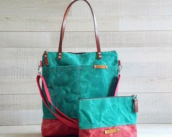 WAXED CANVAS TOTE in Green and Red ZiPPERED, Unisex, Laptop, Diaper Bag, Work Bag, School Bag, Leather Straps, Macbook Pro Bag, waxed Tote