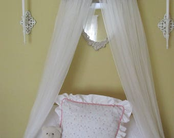 Crib Canopy Bed WHITE Satin Princess Ballet TUFTED Upholstered Ballerina bedroom cornice coronet teester valance So Zoey Boutique custom