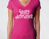 Ladies' V-Neck Tee RUNS SMALL See Size Chart - Fairy Dogmother Shirt - Dogs Doglover Dogmom Pets Animal Womens Graphic Tee Vneck Tshirt