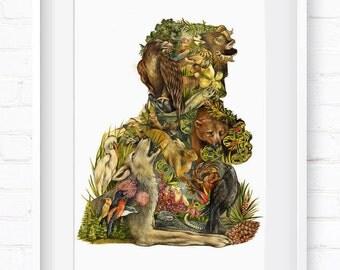 John Muir Portrait, Vintage Portrait, Historical Portrait, Home Decor, Wall Art, Art Print, Wall Decor, Giclée Print, Animal Print