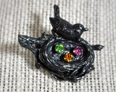 Vintage Anson Sterling Silver Bird's Nest Brooch Pin with Bird and Rhinestone Eggs