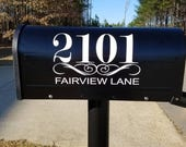 Mailbox Number Decal  With Street Name Under Scroll  - One Decal - Custom Mailbox Sticker , Address Sticker, Street name decal, Home Address