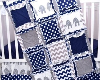 Elephant Blanket Crib Size Rag Quilt - Gray / Navy Crib Bedding - Elephant Baby Quilt Bedding for Boy - Jungle Crib Bedding - Safari Nursery