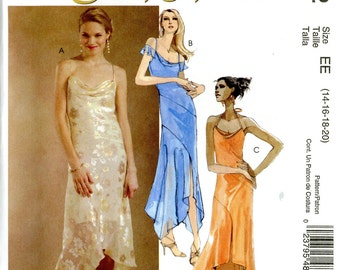 McCall's M4832 Evening Elegance Draped Neckline Dress Cocktail Salsa Hi Lo Hem Size 14 16 18 20 Uncut Sewing Pattern 2005
